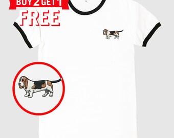 Basset Hound Dog Embroidered Ringer T-Shirt by 24PlanetsStudio