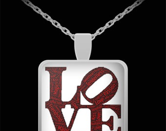 "Dynamic LOVE Pendant with Necklace! Ideal Anniversary or Wedding or I LOVE YOU Gift!! Wear this proudly on 22"" silver plated necklace!"