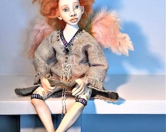 Angel with Letter Art Doll , OOAK, Collectible Art Doll, Handmade Doll, Interior Doll, Boudoir Decor