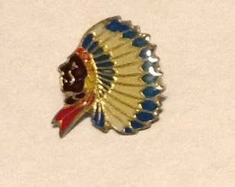 Indian head collectible hat/lapel pin, feather headdress, 1980s, gold tone cloisonne clutch pin.