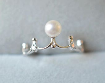 Pearl Engagement Ring Akoya Pearl Ring Pearl Wedding Ring White Gold  Pearl Engagement Ring Platinum Pearl Engagement Ring Crown Pearl Ring