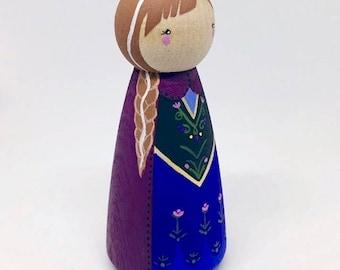 Princess Anna, Anna, Frozen, Peg Doll, Disney Peg dolls, Disney Princess, Wooden toys, Baby shower gift, Wooden decor, Wooden toy, Toy, Elsa