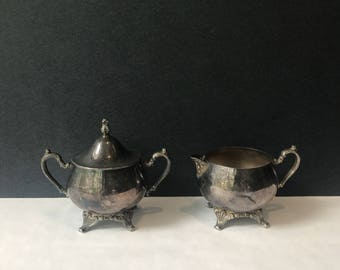 Antique Sugar and Creamer Silver Service - WM A Rogers Oneida Silversmith Set / Vintage Silver Kitchen / Succulent Planters
