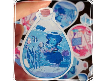 Steven Universe Terrarium Stickers, Lapis or Pearl