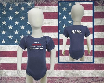 Personalized Baby Firefighter Onesie I Am a Firefighter Like My Father/Mother Before Me