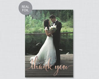 REAL Rose Gold Foil Wedding Thank You Cards - Rose Gold Foil Pressed Photo Thank You Cards - Personalized Foil Stamped Thank You 0002