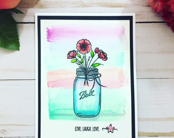 C024 - Handmade Bell Jar Floral Greeting Card - Live, Laugh, Love