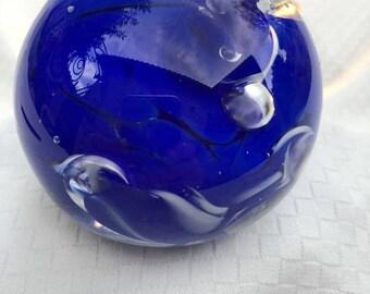 Swirling Cobalt Blue Hand Blown Paperweight