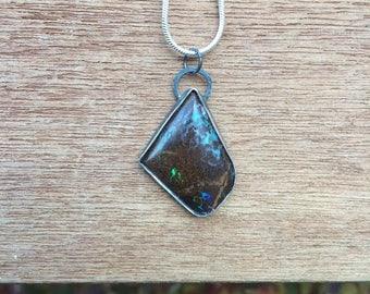 Sterling Silver Australian Boulder Opal Pendant / Australian Opal Necklace / Natural Opal Amulet / Rough Opal Talisman / Rainbow Opal