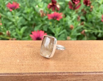 SALE! Golden Rutilated Quartz Ring Size 7 / Square Rutilated Quartz / Sterling Silver Ring / Rutile Quartz Ring / Gold Rutilated Quartz