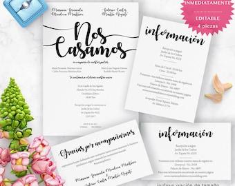 Invitación de Boda en español. Spanish printable wedding invitation. Editable, diseño Caligrafía. Incluye complementos, Full Wedding Suite.
