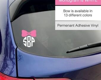 Monogram Bow Decal, Monogram Decal, Car Decal, Custom Decal