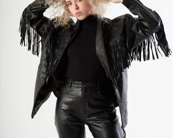 Vintage Black Fringe Leather Jacket