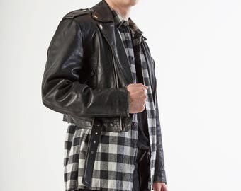Vintage Black Leather Biker Jacket