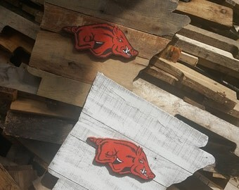 Reclaimed Pallet Arkansas with Hand Painted Razorback