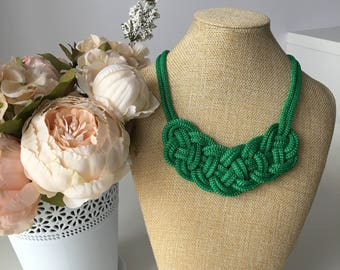 Green necklace- Green rope necklace- Knot Necklace- Rope jewelry- Bib necklace- Chunky necklace- Nautical necklace- Christmas  gift for her