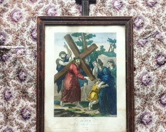 Religious lithograph depicting one of the stations of Christ. 1870 s wood topped with a cross frame. antique french