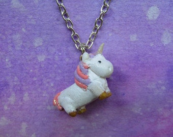 LAST CHANCLE SALE: Unicorn polymer clay charm necklace