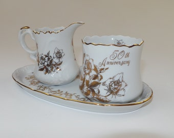 Vintage Royal Crown 50th Anniversary Porcelain Creamer Pitcher, Open Sugar Bowl, and Plate - Made in Japan