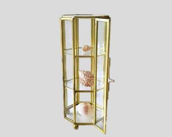 vintage brass and glass display case curio cabinet brass trim curio display shelf