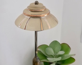 Pendant Glass Lampshade, French Shade, Glass Shade, 1940s Lighting, Frosty Glass, Vintage Glass Lampshade, Green and Gold, Shallow Lampshade