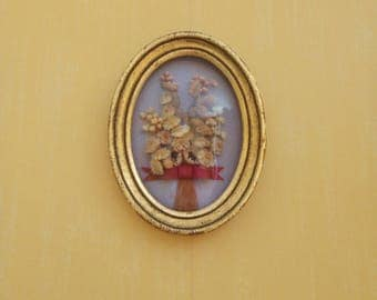 Small Oval Picture, Dried Flowers, Gold Frame, Gold Picture Frame, Small Frame, Floral Decor
