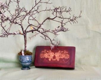 Leather Box, Roses, Desk, Library, Old Treasure Box, Rectangular Desk Box