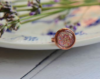 Rose Gold Ring - Rose Gold Jewellery - Pink Ring - Rose Gold Pink Ring - Handmade Rings - Statement Ring - Sparkly Ring