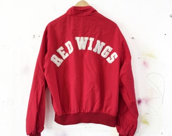 Vintage 80s Detroit Red Wings Hockey Patch Jacket