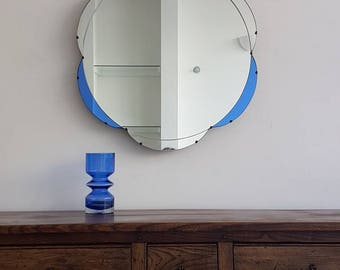 Large Blue Glass Art Deco Mirror