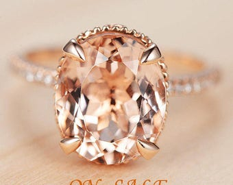 Rose Gold Morganite Engagement Ring Women Unique Antique Bridal Set Diamond Oval Cut Anniversary Gifts For Her Vintage Birthstone