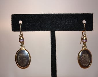 Gold Tone Drop Earrings with Black Iridescent Beads
