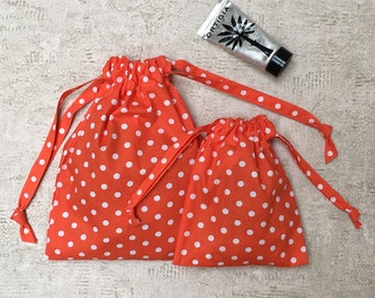 smallbags poppy with white polka dots - reusable cotton bag - zero waste