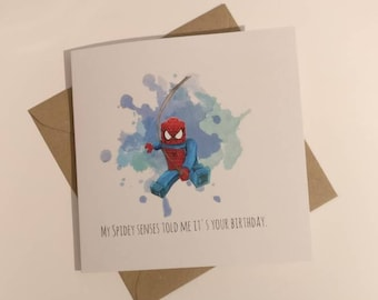 LEGO Spiderman inspired birthday card  watercolour design greetings card
