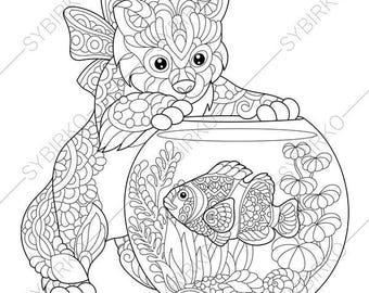 Adult Coloring Pages Kitten And Aquarium Fish Zentangle Doodle For Adults