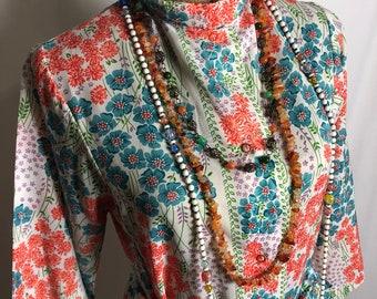 Vintage  Evelyn Pearson Floral 1960's Button down wrap dress