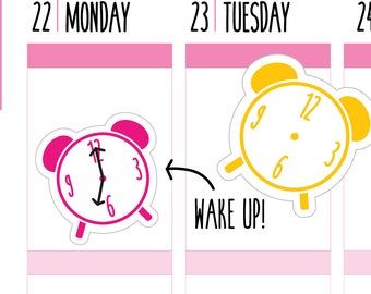 Alarm Clock Planner Stickers, Clock Stickers, Alarm Stickers, Wake Up, Kawaii, Functional, Happy Planner Stickers, Erin Condren Stickers