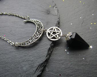 Moon Necklace with Pentacle and Black Onyx, Wicca Necklace, Pagan necklace, Moon Necklace,Witch jewelry, Pagan, Wicca, Alternative Jewelry