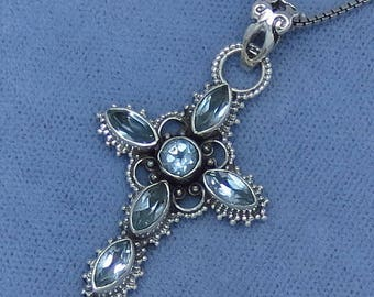 Small Genuine Blue Topaz Cross Pendant or Necklace - Sterling Silver - Victorian Filigree Design - JY161802