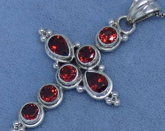 Genuine Garnet Cross Pendant or Necklace - Sterling Silver - Natural Gemstones - GC162506