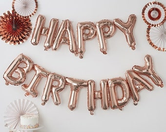 Rose gold foil Happy Birthday balloon bunting , Air fill,party balloon,wedding,babyshower,new baby,announcement,engagement,party