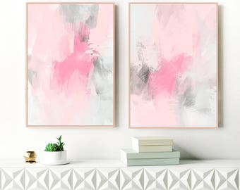 Pink Abstract Art, Set of 2 Dusty Pink and Grey Paintings, 24x36 Blush Pink and Grey Modern Wall Art, Original Instant Download Art