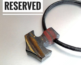 Reserved! Tigers Eye Necklace, Mjolnir Pendant, Stone Thors Hammer Necklace, Norse Jewelry, Men's Jewellery
