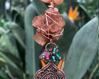 aragonite wire wrapped charm necklace