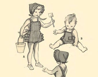 """Vintage 1950's Sewing Pattern Toddler's Frilly Beach Playsuit Sunsuit Bonnet B 21"""" Size 2 RARE"""