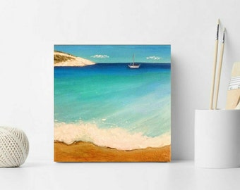 Gifts & mementos,Original Greek island painting,Donousa island souvenir,Wedding gift,summer decoration,Seascape painting,Gift for her