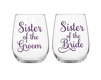 Sister of the Bride Decal, Sister of the Groom Decal, Wine Glass Decals, Sibling Wedding Decals, Wedding Glass Decals, Wedding Siblings