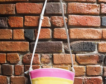Women's 90s Rainbow Pink Yellow Turquoise And Purple Stripe Cross Body Bucket Bag Purse With Adjustable Strap