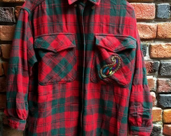 Vintage Red Flannel with Paisley Emblem on Pocket and 3/4 Length Sleeves 1244