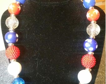 Chunky Bead, Bubblegum Bead Necklace, Patriotic, Red, White and Blue